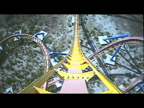 Superman Atraccion de Acero Roller Coaster Front Seat Onride POV Parque Warner Madrid
