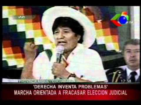 Evo ahora acusa a la marcha indígena de atentar contra elecciones judiciales