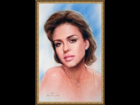 Speed drawing portrait Jessica Alba in technique dry brush. Art of portrait painter Yakov Dedyk.