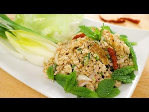 Laab Gai - Spicy Chicken Salad Recipe - Hot Thai Kitchen!