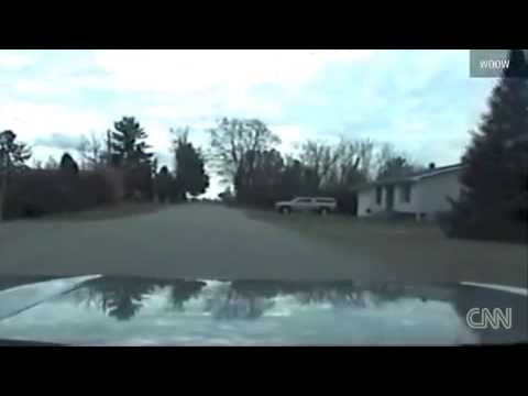Police Shootout with Robbery Suspect - Dashcam Video