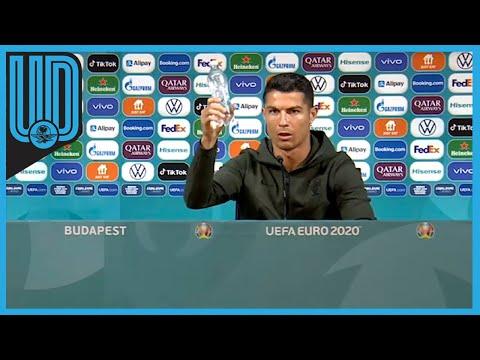 Cristiano Ronaldo quita las botellas de Coca-Cola en plena conferencia