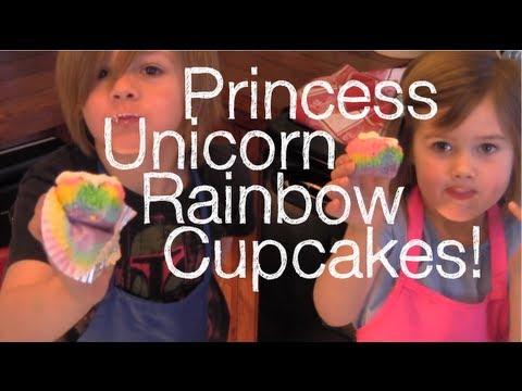 Princess Unicorn Rainbow Cupcakes