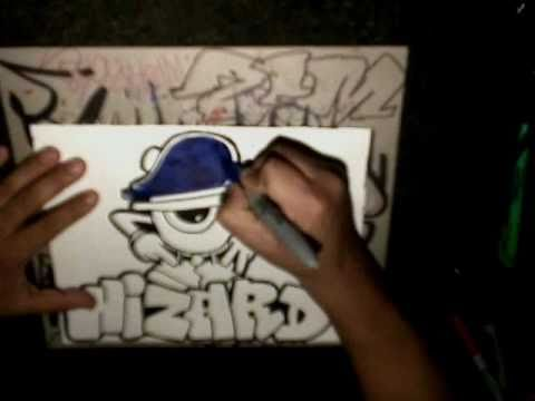 DRAWING GRAFFITI WIZARD (Speed Graffiti Drawing) - (Simple Drawing)