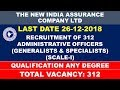 RECRUITMENT OF 312 ADMINISTRATIVE OFFICERS IN NEW INDIA ASSURANCE COMPANY LTD