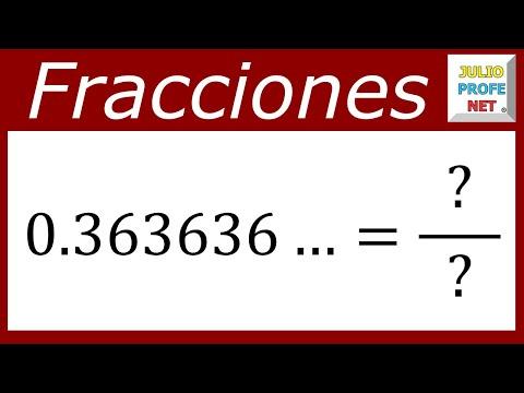 Fracción generatriz de un número decimal infinito periódico puro
