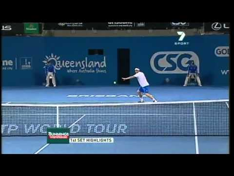 Marcos Baghdatis v Andy Roddick - Men's singles quarter final: Brisbane International 2011