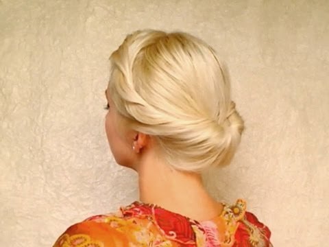 Gibson tuck hairstyle for medium long hair tutorial without heat Elegant formal rolled updo