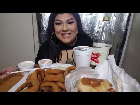Avocado cheeseburger and onion rings  MUKBANG - UC5nVAbsSyokmLnFgVa-Gq9Q
