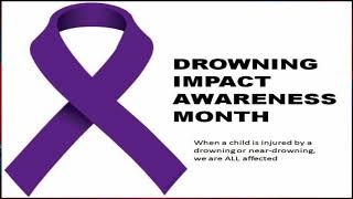 Purple ribbons promoting water safety for drowning impact awareness month