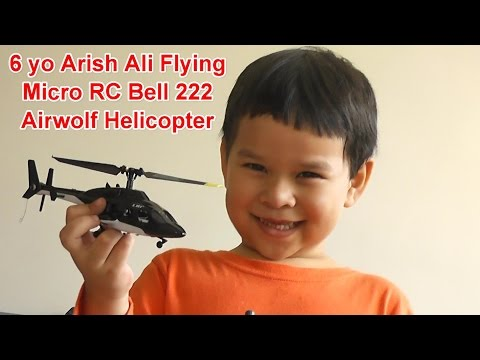 Micro RC Bell 222 Airwolf Helicopter Flown by 6 yo Pilot - UCsFctXdFnbeoKpLefdEloEQ