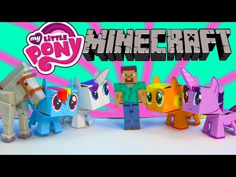 My Little Pony Boxos Paper Craft Style Minecraft Figures Steve Horse MLP Toy Unboxing Review - UCelMeixAOTs2OQAAi9wU8-g
