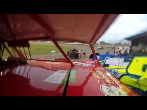 September 13, 2018. Second day of the Wissota 100. The team traveled the 45 miles north to I-94 Speedway, Fergus Falls, Minnesota. Jeff started heat 1 from the inside of the third row. He was charged with the caution for not holding his line, so he was sent to the back. Contact with another car caused another caution, giving Jeff a ninth place finish in the heat and no passing points to make the nights feature. Helping on the car was Larry, Jeff, Shane, Blair, Craig, Gulley, Est and Kreg. - dirt track racing video image