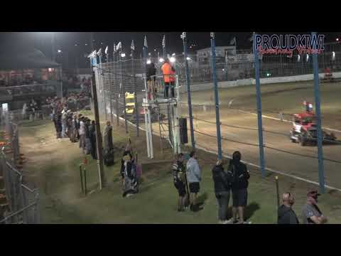 The final qualifying race for the Stratford Scrappers v Rotorua Rebels at the Auckland Superstock Teams Nationals held at Waikaraka Park Speedway on Friday 06 March 2020 - dirt track racing video image