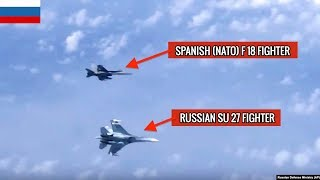 RUSSIAN SU 27 JET CHASING AWAY NATO F 18 FROM DEFENSE MINISTER'S AIRCRAFT !!