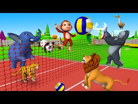 Funny Animals Play Volley Ball in Forest with Monkey & Gorilla | Animals Cartoon Comedy Video - UC_ghLCBI7Si-GzClJ7xJqrQ