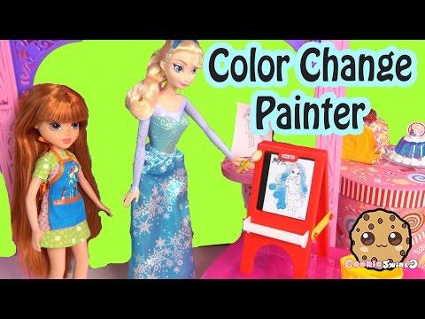Moxie Girlz Painter Doll Playset & Disney Frozen Queen Elsa Paints with Color Change Art Set - default