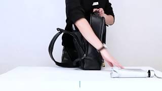 BULLCAPTAIN Men Laptop Backpack Genuine Leather Business Travel Black