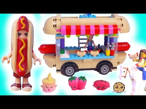 lego friends hot dog food stand car cookie swirl c toy play video