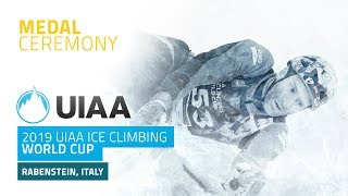 Rabenstein, Italy l Medal Ceremony l 2019 UIAA Ice Climbing World Cup