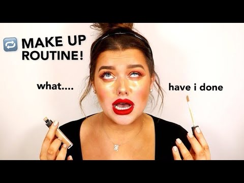 DOING MY MAKE UP ROUTINE... IN REVERSE! *CHALLENGE*   Rachel Leary - UC-Um2u0Agv8Q-OhjO6FZk1g