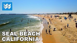 Walking from Main St to Seal Beach Pier in Downtown Seal Beach, Orange County California 2019 🎧【4K】