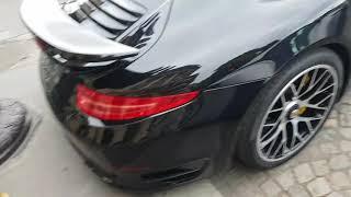 2015 black porsche 991 turbo S 560 ch in PAris France
