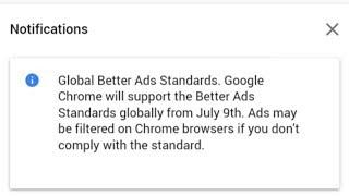 Google Chrome Better Ads Standards | Google Adsense New Notification
