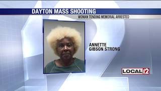 Woman who tended Dayton shooting victims' memorial arrested
