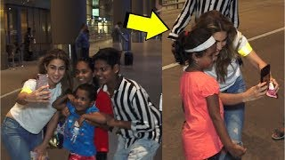 Sara Ali Khan SWEET Gesture Taking Selfie With Little Kids At Airport