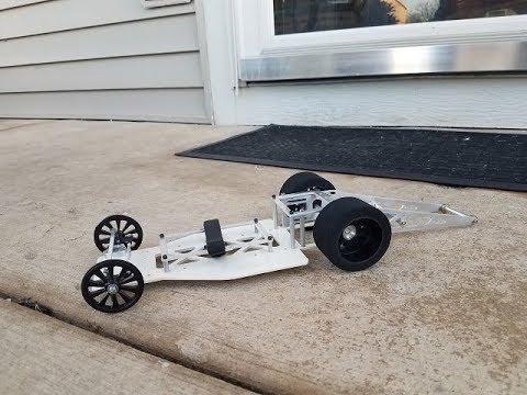 "Wheels mounted 9"" rc drag car custom with white powdercoated chassis 9"" wheelbase - UCeWinLl2vXvt09gZdBM6TfA"
