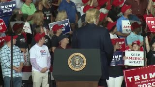 President Trump mistakes supporter for protester, says he has 'weight problem'