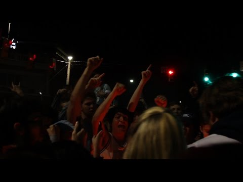 After the UNC men's basketball 90-83 win on Saturday against Duke, crowds flooded to Franklin Street to celebrate.
