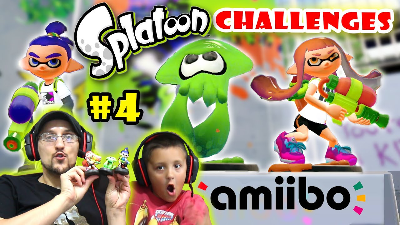 Lets Play SPLATOON Part 4: INKLING SQUID ROCKS! + Boy & Girl AMIIBO CHALLENGES (Would You Rather?)