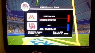 NCAA Football 2004 Is 2002 Minnesota Golden Gophers And 1992 All Americans Intro