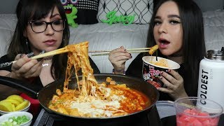 SPICY CHEESY RAMEN AND RICE CAKES MUKBANG | EATING SHOW | COOKING WITH PAK