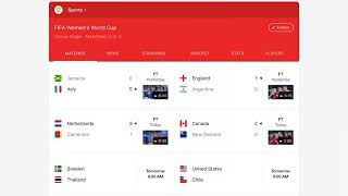 Women's World Cup day 8 results