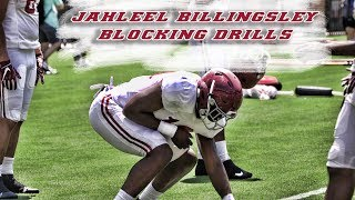 Tight End Jahleel Billingsley works on blocking ahead of second scrimmage