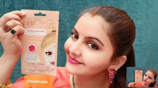 Flower radiance boosting beauty power up sheet mask review demo | expensive or AFFORDABLE ? RARA