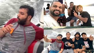 Rohit Sharma, Shikhar Dhawan, Mayank Agarwal Hang Out With Kieron Pollard In Port Of Spain