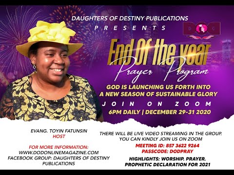 Annual End of the Year Prayer program for Women 29-31 Dec