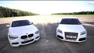 BMW M135i v Audi RS3: Road, Track, Drag-race.