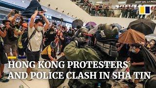 Hong Kong protesters and police clash in Sha Tin