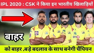 IPL 2020 : Players Release By CSK Before Auction | Chennai Super Kings Squad 2020