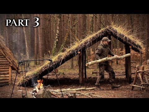 Building a Turf Roof Viking House with Hand Tools: Bushcraft Project (PART 3)