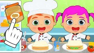BEBES ALEX y LILY Cómo hacer sandwich para merendar 🥪🥪 Recetas de cocina infantiles fáciles