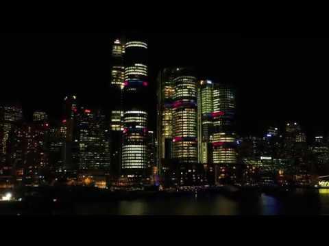Barangaroo at night during Vivid Sydney 2017