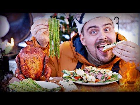 Меню на Новый Год 2018 ✅  Вишневая курица на банке, салат со стейком, спаржа и аля бабагануш | Гриль