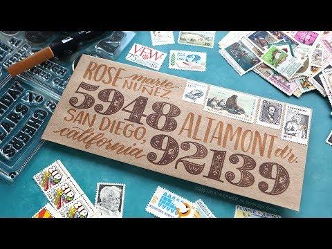 ENVELOPE DESIGN – Large Number Stamps + Brush Lettering