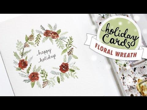 HOLIDAY CARD #1: Christmas Floral Wreath Card Watercolour Tutorial